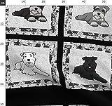 Schnauzer, Feld, Quilt, Comic, Hunde Stoffe - Individuell
