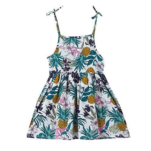 REALIKE Kinder Baby Mädchen Ärmellos Kurze Kleid Elegant Blumendruck Sling Weste Floral Kleid Mode O-Ausschnitt Hoher Taille Party Kleider Strandkleidungkind Prinzessin Kleidung