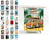 Duschvorhang, viele schöne Duschvorhänge zur Auswahl, hochwertige Qualität, inkl. 12 Ringe, wasserdicht, Anti-Schimmel-Effekt (180 x 200 cm, Summer Bus)