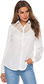 Women's Tops Lace Lapel Collar Button Shirt V Neck Long Sleeve Solid Tunic T-Shirt Blouse
