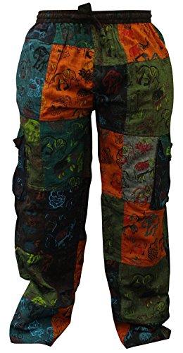 Shopoholic Fashion Herren Sommer Hippie-Cargo-Taschen-Kampf-Hose Gr. 56, multi
