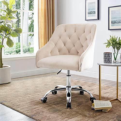 Recaceik Home Office Desk Chairs, Adjustable Swivel Ergonomic Office Chair, Soft Velvet Computer Desk Task Chairs for Home Office, Bedroom, Living Room, Study, White