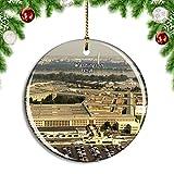 Weekino Estados Unidos América Pentágono Washington DC Decoración de Navidad Árbol de Navidad Adorno Colgante Ciudad Viaje Colección de Recuerdos Porcelana 2.85 Pulgadas