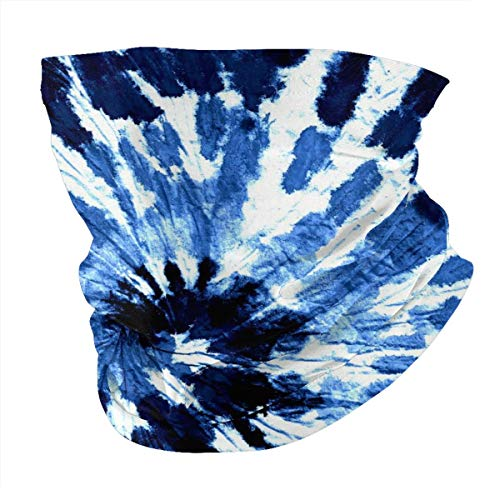 Blue tie dye Neck Gaiter Face Scarf Mask-Dust, Sun Protection Cool Lightweight Windproof, Breathable Fishing Hiking Running Cycling