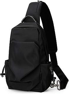 ショルダーバッグ メンズ ボディバッグ 斜め掛けバッグ 撥水加工 11インチiPad収納 軽量バッグ(350g) 左右掛け ブラック 男女兼用