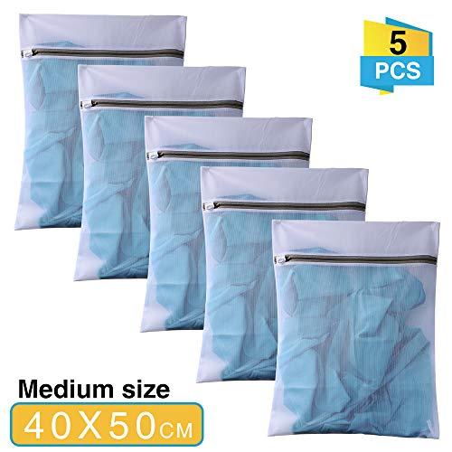 anaoo Wäschesack für Empfindliches Waschbeutel Wäschenetz für Waschmaschine mit reißverschluss feinmaschig für Dessous zart ideal für BHS socken t-Shirts etc. 5 Stück 40cm x 50cm