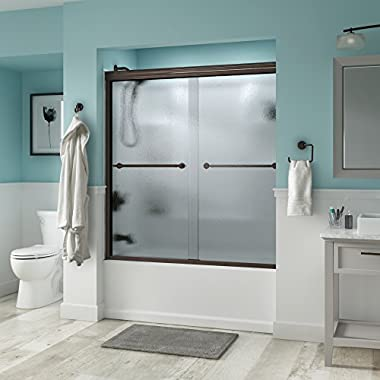 Delta Shower Doors SD3276650 Trinsic 60  Semi-Frameless Traditional Sliding Bathtub Door in Bronze with Rain Glass