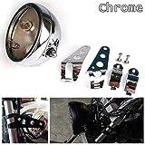 HOZAN 5.75 inch Motorcycle Headlight Housing Chrome Bucket 5-3/4 LED Headlight Mount Bracket for Harley Honda Suzuki Kawasaki Vulcan Cruiser Bike Cafe racer Accessories