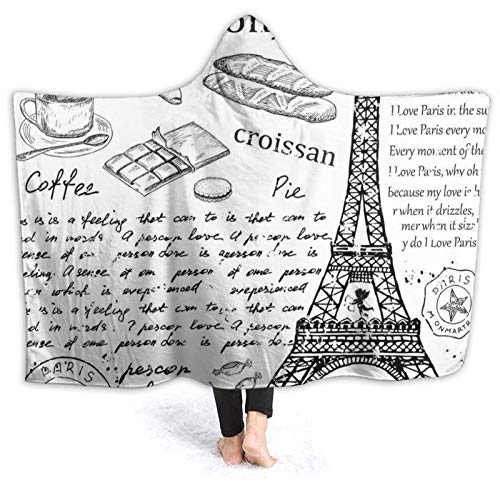 Hooded Blanket Anti-Pilling Flannel,Traditional Famous Parisian Elements Bonjour Croissan Coffee Eiffel Tower Print,Soft and Warm Flannel Throw Blanket for Couch Sofa,for Teens