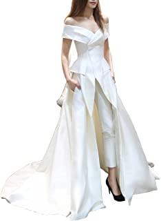 Women's Jumpsuit with Long Train Evening Dress Off Shoulder White Prom Gown