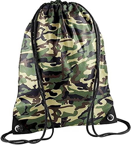 CLOTHING Sacca Zaino Sportivo Impermeabile Borsa Zainetto in Nylon con Angoli rinforzati per Scuola Scarpe Piscina Palestra Sport Adulto Bambino Lyon Team WGF (Camouflage Militare Neutro)