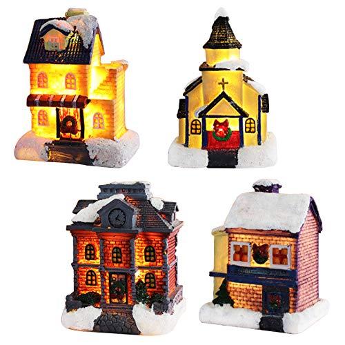 Bseical Villaggio Natalizio Invernale, LED Decori Natalizi Casette Natalizio Luminoso Piccolo, Decorazioni Natale Regali (Colore Caldo, 4 Pezzi)