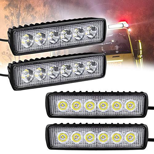 Froadp 18W LED Arbeitsscheinwerfer Quadrat Offroad Flutlicht Zusatzscheinwerfer 12V/24V Rückfahrscheinwerfer Arbeitslicht IP67 für SUV UTV ATV(4 Stück)