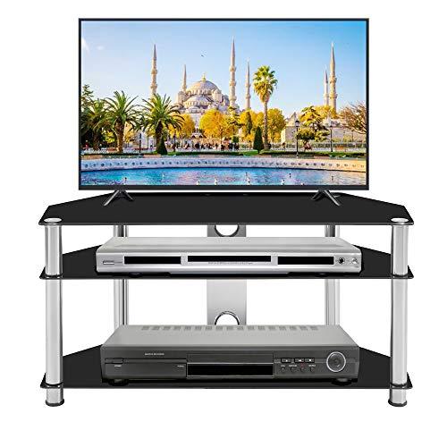 LIBYPNV Mueble de TV de tres capas con panel trasero de cable, soporte de TV de vidrio templado simple para TV de 60 pulgadas, dormitorio pequeño, esquinero, sala de estar, TV, armario, color negro