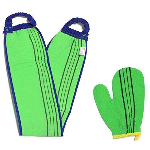 (韓国ブランド)スポンジあかすりセット 全身あかすり 手袋と背中のあかすり 全身エステ 両面つばあかすり お風呂グッズ ボディタオル ボディースポンジ(緑色セット)