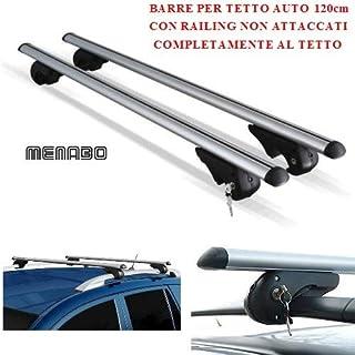 Compatible con Ford Transit Courier 2015 Barras DE Techo para Coche 120CM MENABO con BARANDILLA NO Completamente ADJUNTA AL Techo Rack DE Equipaje DE Aluminio Aprobado
