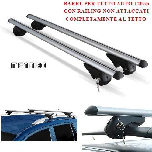 Compatible con Toyota Hilux sw4 2015 Barras DE Techo para Coche 120CM MENABO con BARANDILLA NO Completamente ADJUNTA AL Techo Rack DE Equipaje DE Aluminio Aprobado