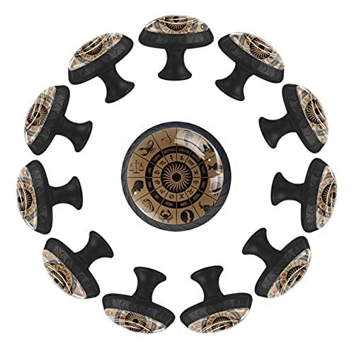 Juego de 12 botones de cristal para cajones con tornillos para armarios de cocina, aparadores, armarios, roperos, tocadiscos, 35 mm