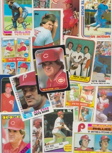 Pete Rose / 30 Different Baseball Cards featuring Pete Rose