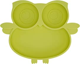 Kirecoo Owl Suction Silicone Plate for Toddlers – Self Feeding Training Storage..