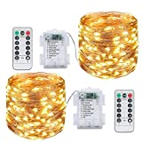 Paquete de 2 luces de hadas de 10 m, 100 LED, a pilas, con control remoto y temporizador, a prueba de agua, con 8 modos de luces de cadena para fiestas, Navidad, bodas, patio (blanco cálido)