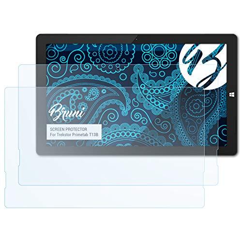 Preisvergleich Produktbild Bruni Schutzfolie kompatibel mit Trekstor Primetab T13B Folie,  glasklare Displayschutzfolie (2X)