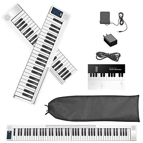 SEAAN Piano eléctrico plegable de 88 teclas, Bluetooth, MIDI, pedal...