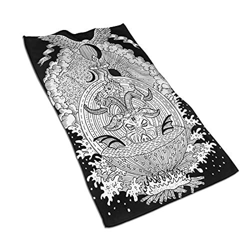 CIKYOWAY Toalla de Mano Símbolos espirituales místicos Blancos como Diablo Eva Adán Infierno y Cielo sobre Fondo Negro Toalla de baño pequeña para baño,Manos,Cara,Gimnasio y SPA 40x70cm