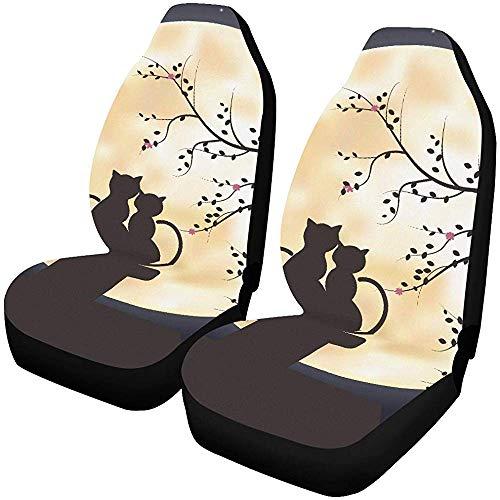 Autositz Autobezug Sweet Romantic Cats und The Moon Autositzbezüge Protector Fahrzeugsitzbezug