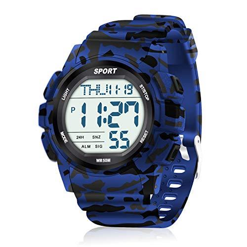 WIFORT Reloj Digital Hombre, 5ATM Impermeable Deportivo Reloj de Pulsera Esfera Grande con Cronómetro, Cuenta Regresiva, Alarma, Tiempo Dividido, Zone Horaria Dual, Mens Watch