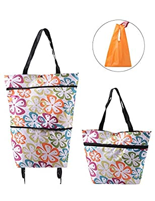 Collapsible Trolley Bags Folding Shopping Bag with Wheels Reusable Grocery Bags Fashion Rolling Shopper Tote - lightweight Capability with Durability, Heavy Duty Beefy Wheels (Elegant White)