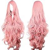 Photo Pal - Peluca de cabello sintético, 100cm, para disfrazarse, Halloween, etc., pelo largo y ondulado rosa con flequillo