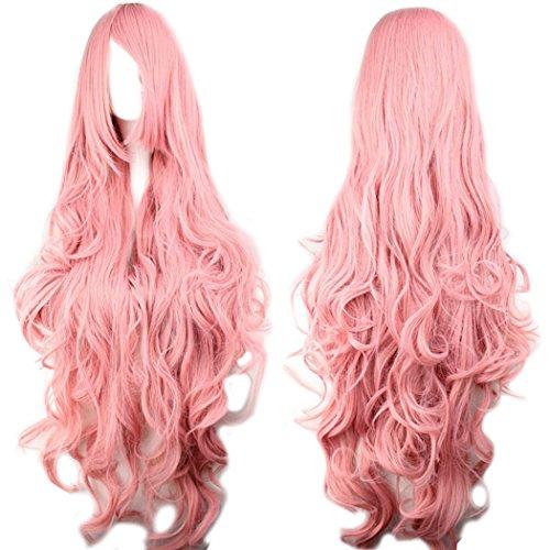 Sawekin 100cm Cosplay Perruque Longue Ondulée Rose Avec Frange Cheveux Synthétiques Halloween Déguisement