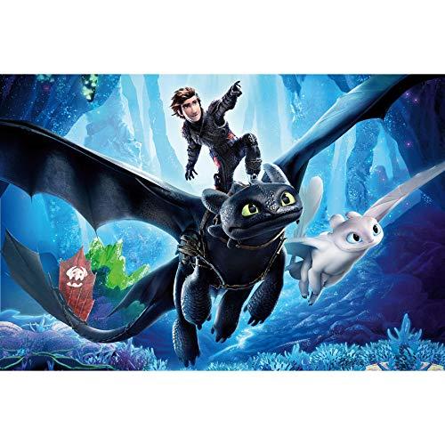 Bpieft Rompecabezas para Niños Adultos Cómo Entrenar a un dragón Jigsaw Puzzle 1000 Piezas, Descompresión Divertido Juego Familiar, Decoración para El Hogar Regalos 50x75cm