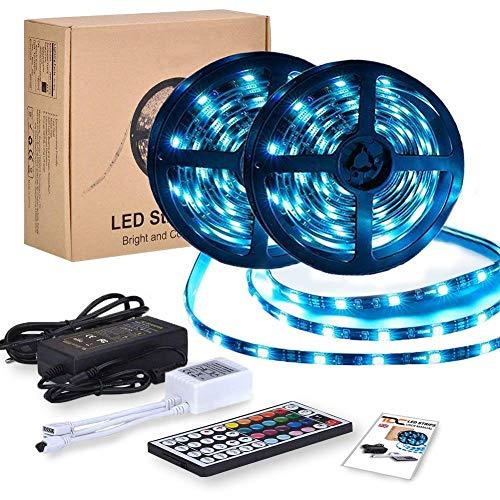 Ledstrip, 10 m, RGB, 5050SMD, ledstrip, lichtband met 44 knoppen, afstandsbediening, 20 kleuren, dimbaar, IP65, waterdicht, ledstrip voor tv-verlichting, kast, balkon, huisdecoratie, 2 x 5 m