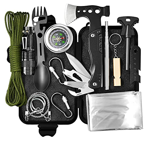 WOWMVP Survival Gear and Equipment, Gifts for Men Dad Husband Fathers Day, 14 in 1 Emergency...