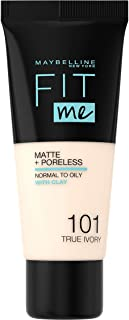 Maybelline New York - Fit Me, Base de Maquillaje Mate Afina Poros, Tono 101 True Ivory - 30 ml