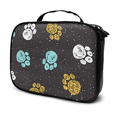 Sacs à cosmétiques pour les voyages des femmes, fond de patte de chien de griffonnage. Étui à crayons Paw Track avec motif abstrait en or, bleu et blanc