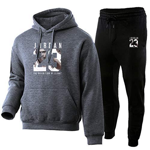 2021 Baloncesto Jersey Chándal Moda Jordania 23 # Hombres Ropa Deportiva Dos Piezas Conjuntos Sudadera+Pantalones Deportivos Traje Masculino Gris Oscuro-XXL