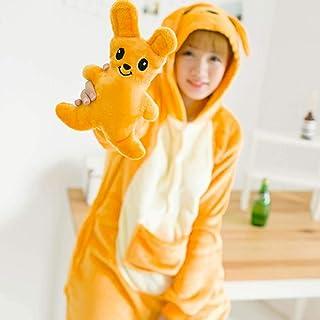 M & A Schlafanzug Kangaroo Kigurumis Orange Cartoon Tier Onesie Frauen Mädchen Erwachsene Paar Pyjama Winter Party Niedlichen lustigen lustigen Flanell warmen Overall