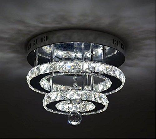 SHFGOO Lámpara de techo LED de cristal moderno K9 Lámpara de araña de cristal de acero inoxidable Decoración perfecta para pasillo/escalera/dormitorio/comedor (luz blanca)