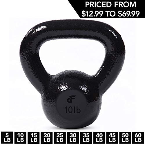Kettlebell Weights Cast Iron by Day 1 Fitness – 10 Pounds - Ballistic Exercise, Core Strength, Functional Fitness, and Weight Training Set - Free Weight, Equipment, Accessories