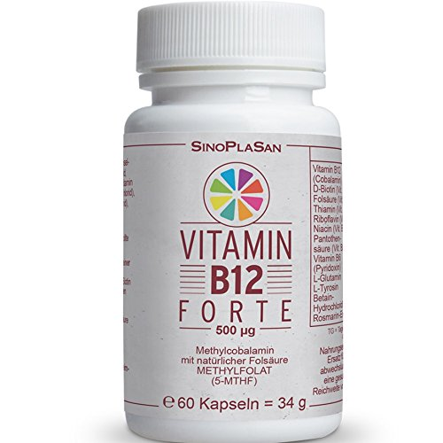 Vitamin B12 FORTE, Vitamin B-Komplex, 500µg Methylcobalamin, 60 Kapseln, mit NATÜRLICHER Folsäure (Methylfolat / 5-MTHF), hochdosiert, vegan, laktosefrei, glutenfrei, GMO frei