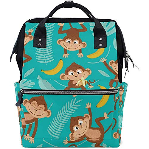 Daypack Funny Monkey Banana Travel Multi-Function Diaper Zipper Backpack Mom Baby Bags Dad Large Capacity Casual Backpacks Unisex 28X18X40Cm