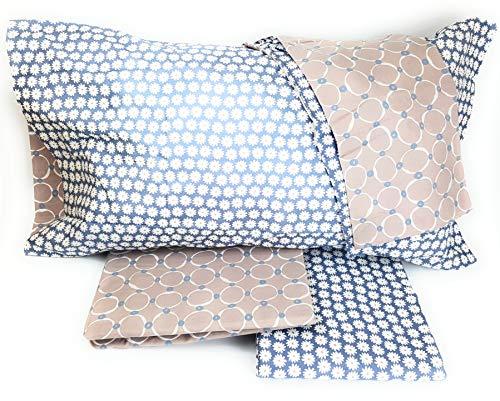 TAG HOUSE - Juego de Funda nórdica para Cama de Matrimonio, diseño de Margaritas, Color Azul, 100% algodón