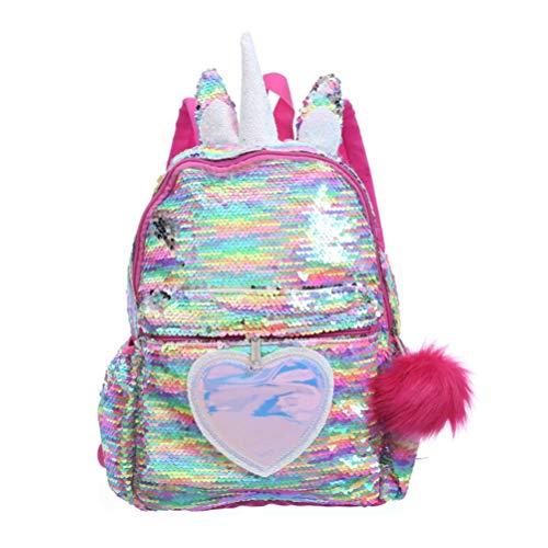 TENDYCOCO Unicorn Backpack Flip Sequin Bookbag with Hairball Glitter Daypack for Girls Teens