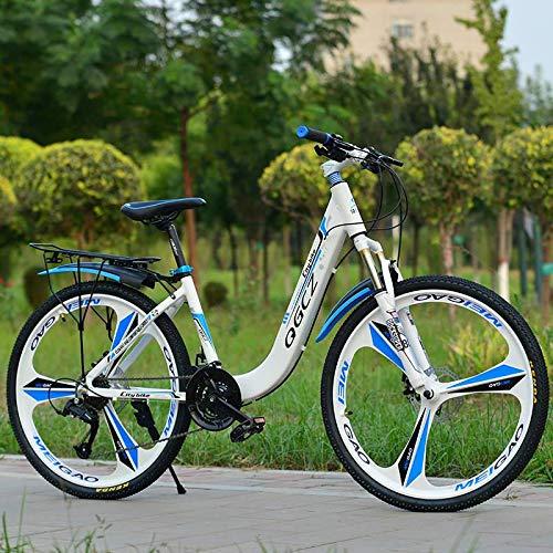 YAALO Women Mountain Bike,27 Speed 26 Inch MTB Bicycle Dual Disc Brake Aluminum Frame Urban Track Bike-White blue24inch