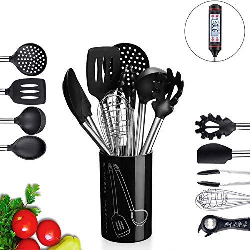 BMK Silikon Küchenhelfer Set 11+1 Küchen Thermometer, Küchenutensilien Kochgeschirr Set Geschirr Küchengerät Cooking Tools Antihaft Hitzebeständiger Silikonspatel Set (11 Stücke)