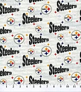 Country Snuggles Steelers White Fabric by The Yard (Fat Quarters)