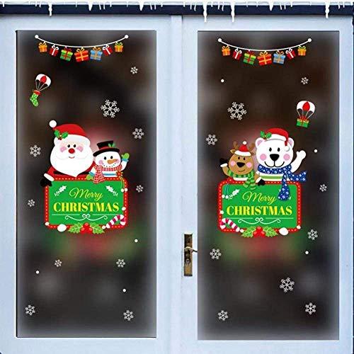 Doe-het-zelf PVC muursticker Kerstmis muur Kerstmis Kerstman Elk Shop Showcase Deur Glas raamdecoratie Stickers-K